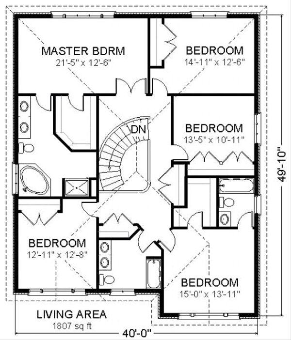 Traditional Floor Plan - Upper Floor Plan Plan #414-107
