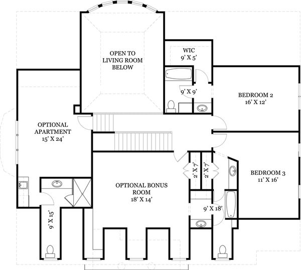 Classical Floor Plan - Upper Floor Plan Plan #119-155