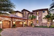 Mediterranean Style House Plan - 4 Beds 5 Baths 3777 Sq/Ft Plan #930-21 Exterior - Front Elevation
