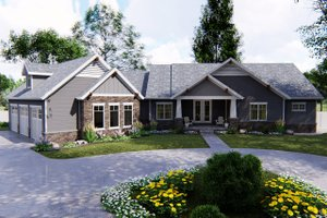 Craftsman Exterior - Front Elevation Plan #455-212