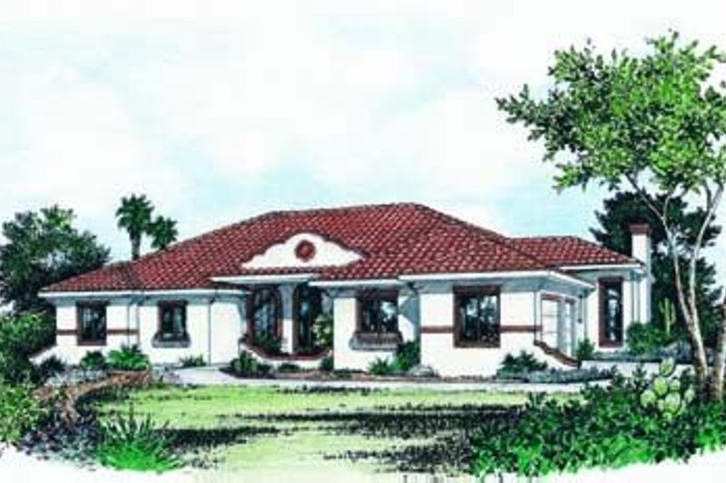Mediterranean Exterior - Front Elevation Plan #20-866 - Houseplans.com