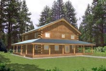 Architectural House Design - Log Exterior - Front Elevation Plan #117-407