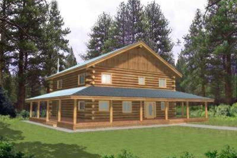 Log Exterior - Front Elevation Plan #117-407