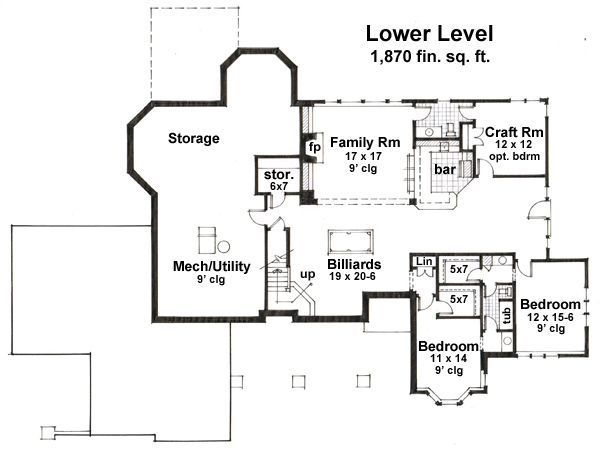 Country Floor Plan - Lower Floor Plan Plan #51-548