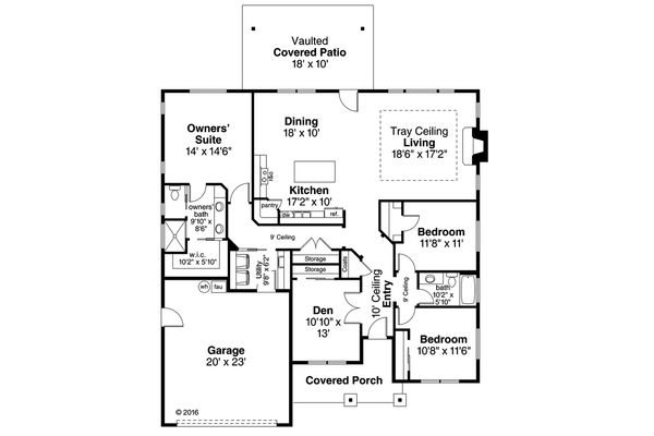 House Plan Design - Ranch Floor Plan - Main Floor Plan #124-1029