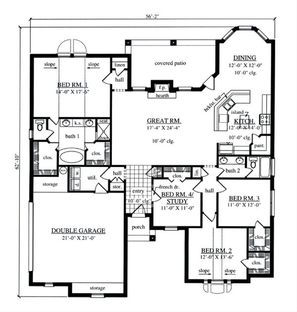 European Floor Plan - Main Floor Plan Plan #42-396