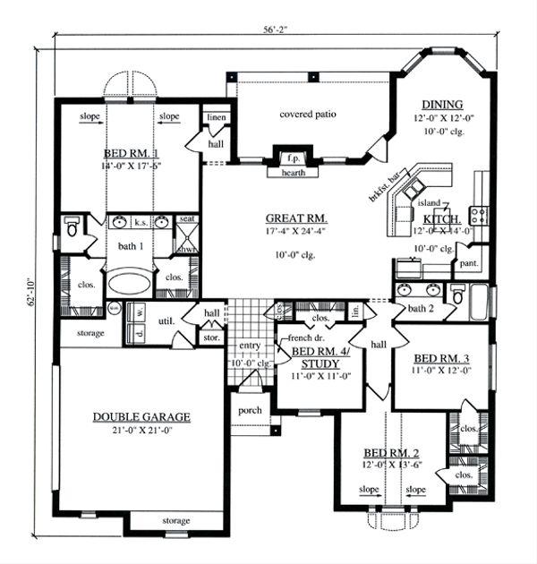 European Floor Plan - Main Floor Plan Plan #42-396