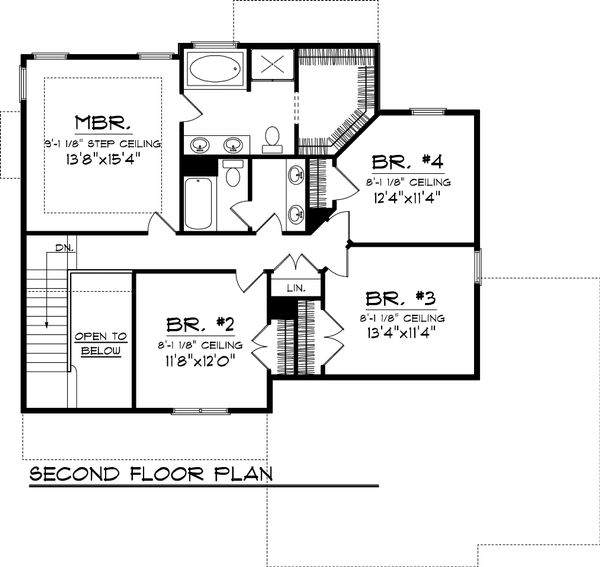 Traditional Floor Plan - Upper Floor Plan Plan #70-1053