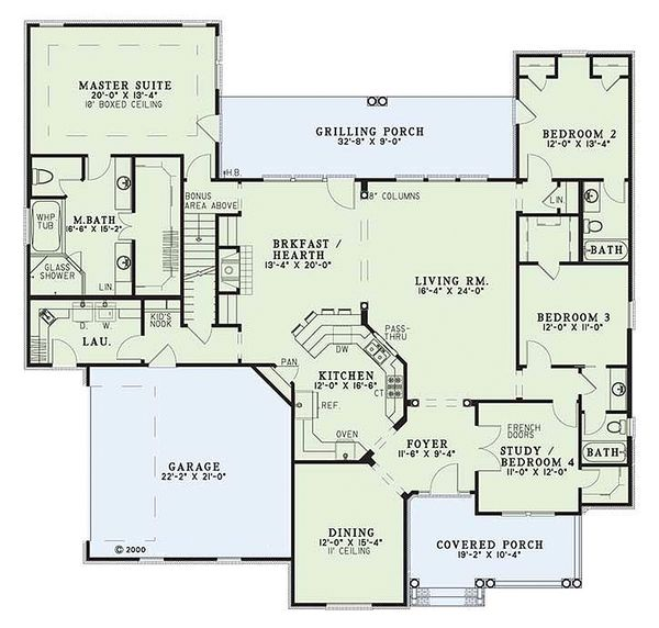 Country Floor Plan - Main Floor Plan Plan #17-1101