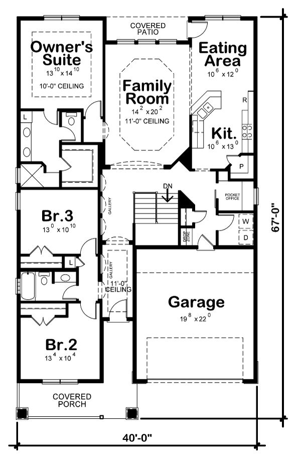 Craftsman Floor Plan - Main Floor Plan Plan #20-2348