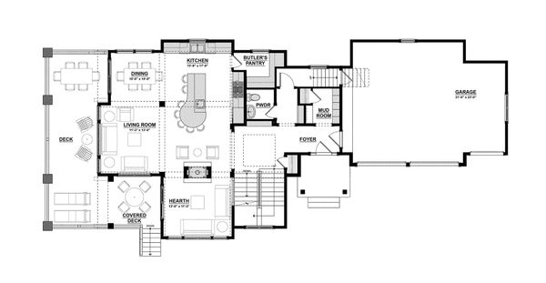 Traditional Floor Plan - Main Floor Plan Plan #928-11
