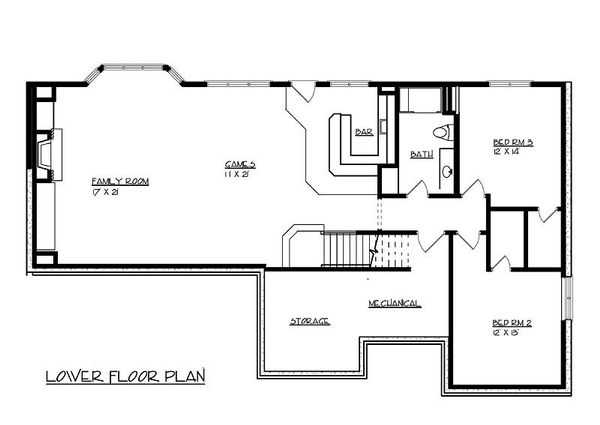 Traditional Floor Plan - Lower Floor Plan Plan #320-485