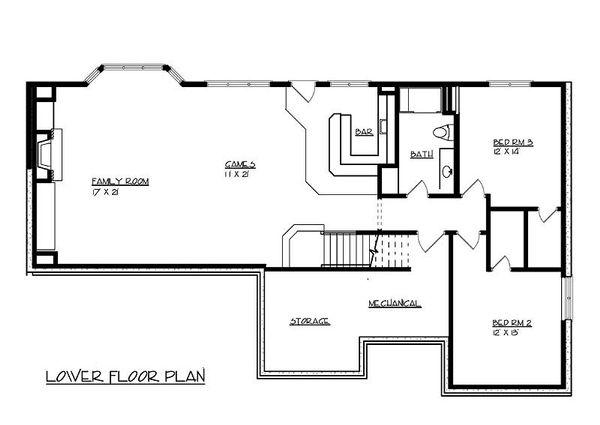 Traditional Floor Plan - Lower Floor Plan Plan #320-485