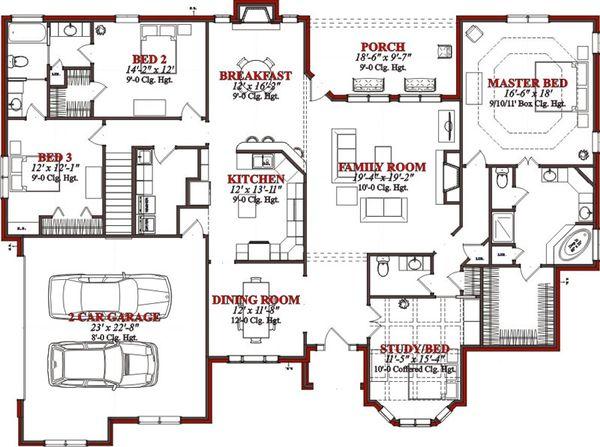 Traditional Floor Plan - Main Floor Plan Plan #63-223