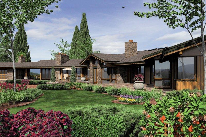 Ranch Exterior - Rear Elevation Plan #48-433 - Houseplans.com