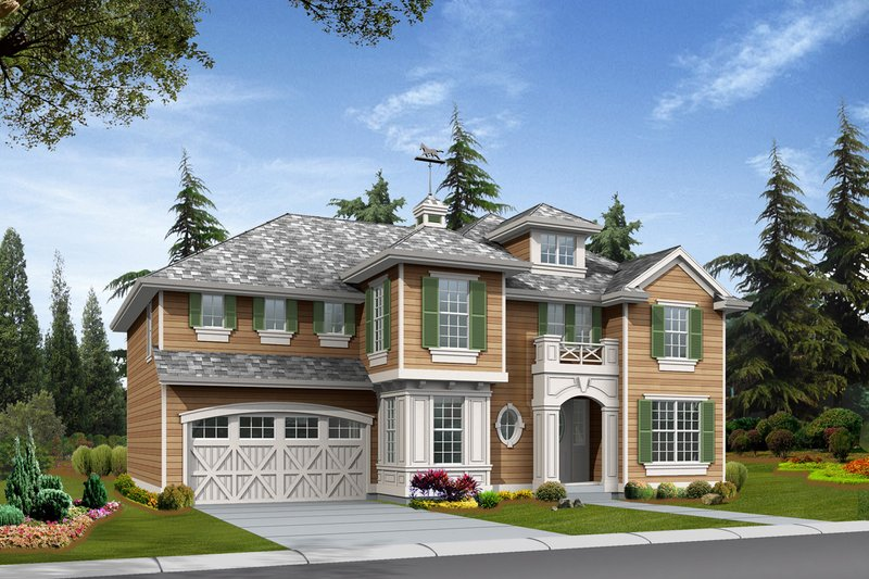 European Style House Plan - 4 Beds 3 Baths 3295 Sq/Ft Plan #132-152 Exterior - Front Elevation