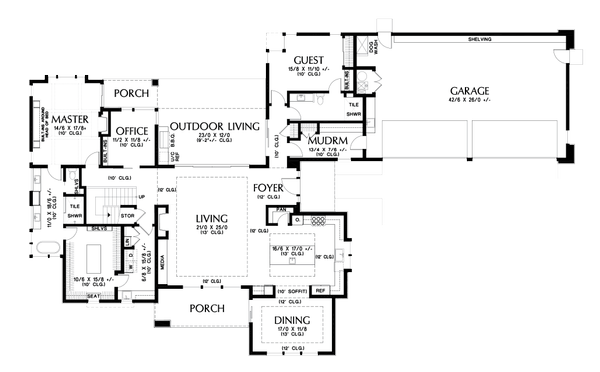 Dream House Plan - Contemporary Floor Plan - Main Floor Plan #48-1004