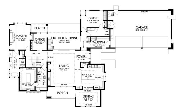 Contemporary Floor Plan - Main Floor Plan Plan #48-1004