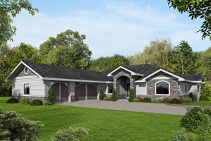 Ranch Exterior - Front Elevation Plan #117-876