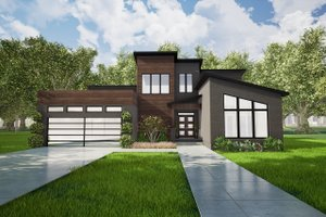Modern Exterior - Front Elevation Plan #17-2602