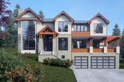 Contemporary Style House Plan - 5 Beds 5.5 Baths 5404 Sq/Ft Plan #1066-36 Exterior - Front Elevation