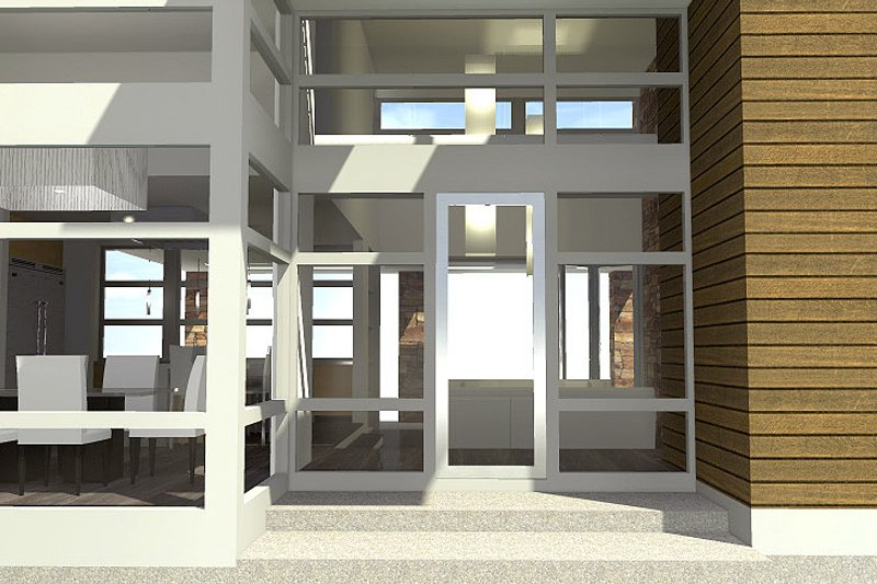 Modern Exterior - Covered Porch Plan #64-221 - Houseplans.com