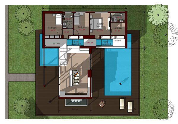 Modern Floor Plan - Upper Floor Plan Plan #473-2