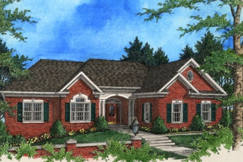 Southern Exterior - Front Elevation Plan #56-198