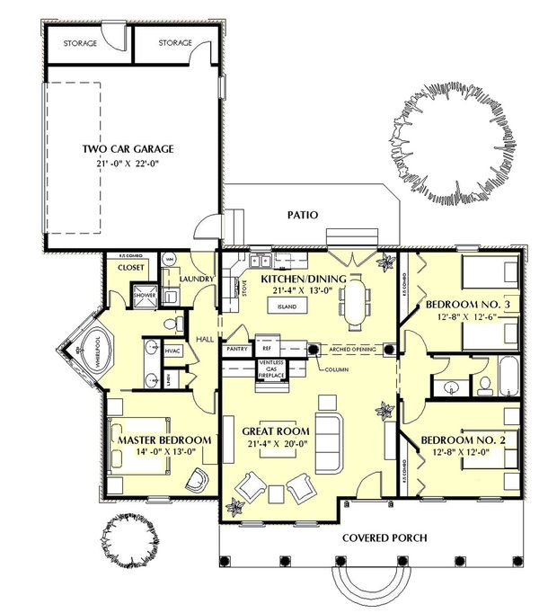 Southern Floor Plan - Main Floor Plan Plan #44-152