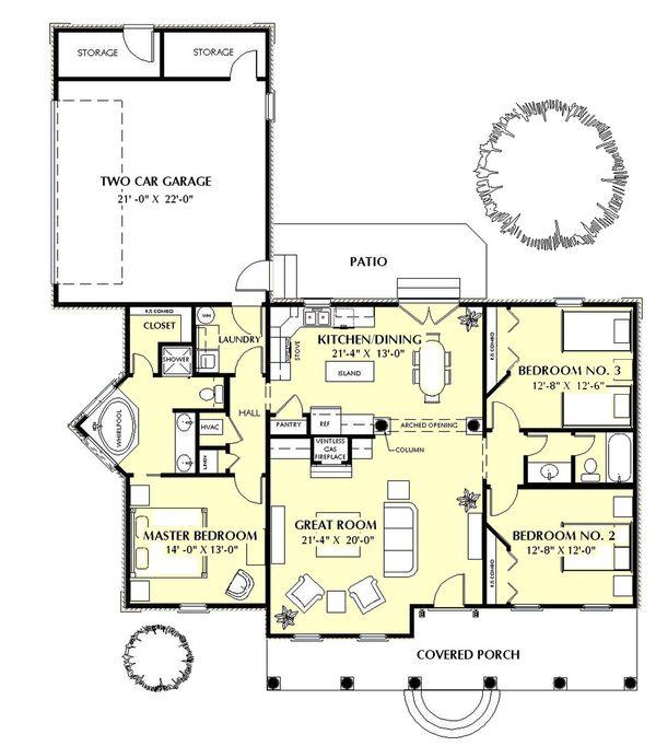 Southern Floor Plan - Main Floor Plan Plan #44-152