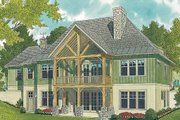 Craftsman Style House Plan - 3 Beds 4 Baths 2764 Sq/Ft Plan #453-11 Exterior - Rear Elevation