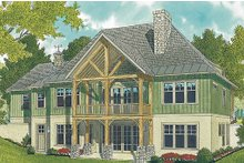 House Plan Design - Craftsman style house design, rear elevation