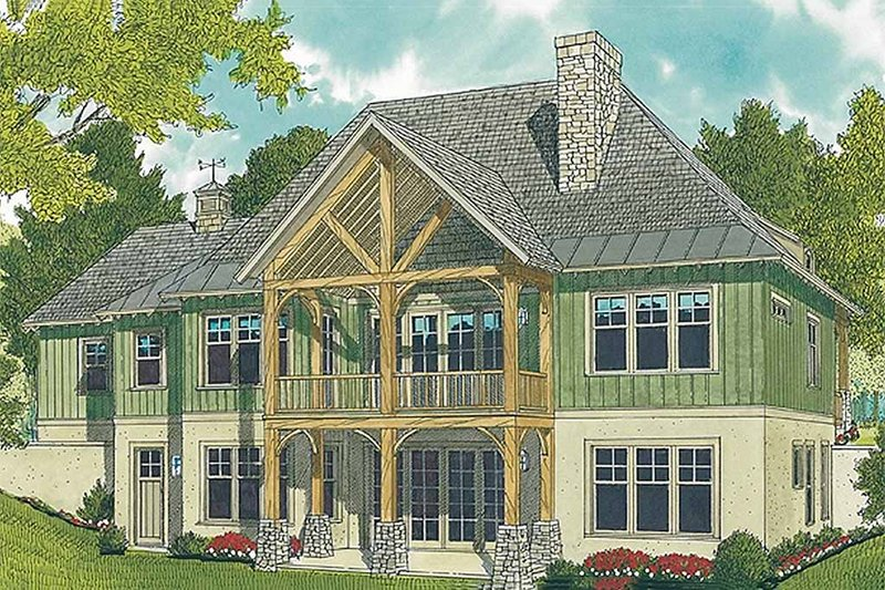 Craftsman style house design, rear elevation