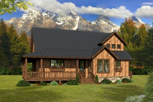Cabin Exterior - Front Elevation Plan #932-49