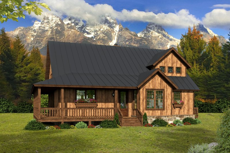 Cabin Exterior - Front Elevation Plan #932-49