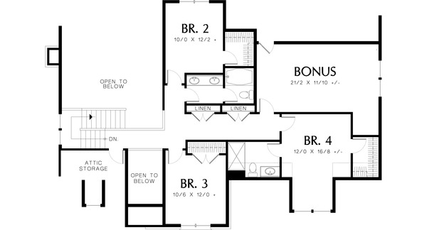 Upper level floor plan - 2800 square foot Craftsman home