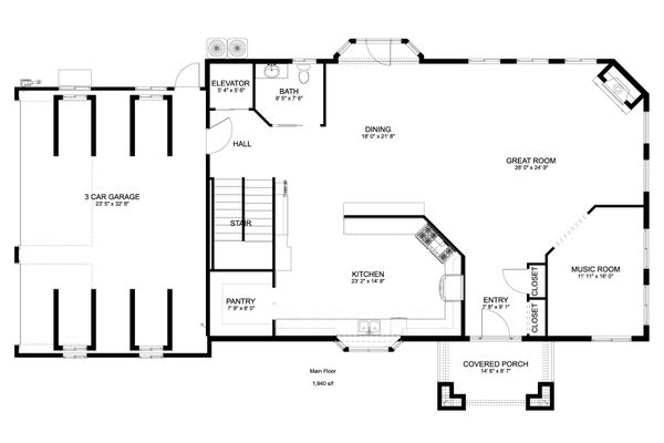 House Plan Design - Craftsman Floor Plan - Main Floor Plan #1060-53