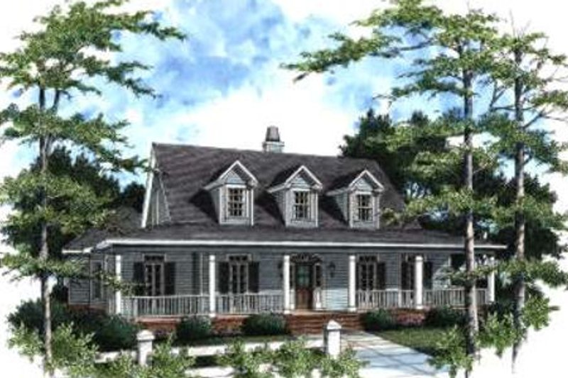 Country Style House Plan - 4 Beds 3 Baths 2665 Sq/Ft Plan #37-120 Exterior - Front Elevation