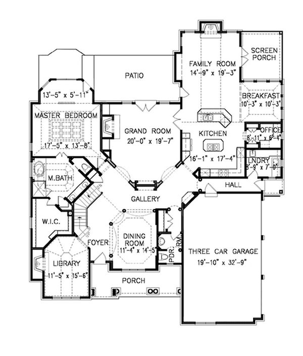 Dream House Plan - Traditional Floor Plan - Main Floor Plan #54-414