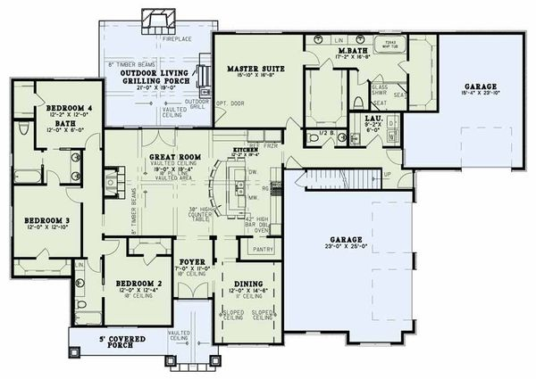 Architectural House Design - Country Floor Plan - Main Floor Plan #17-2608