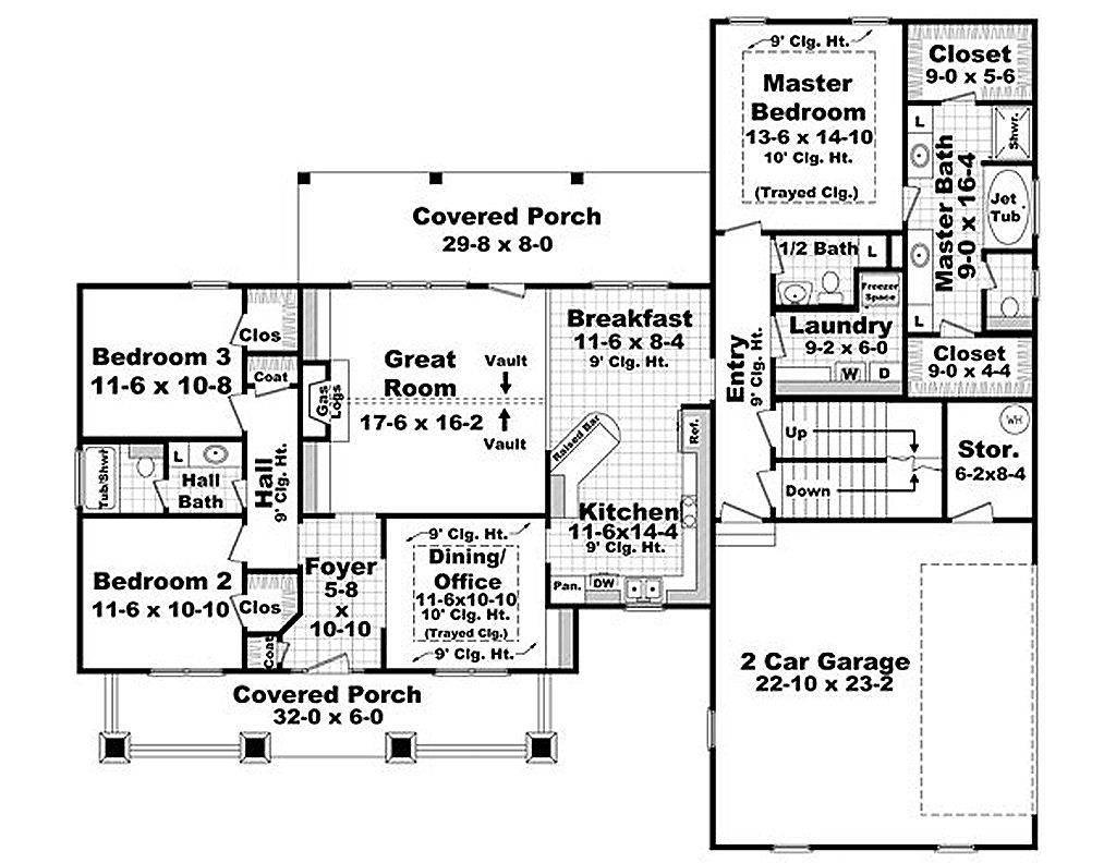 Craftsman Style House Plan - 3 Beds 2.5 Baths 1919 Sq/Ft Plan #21 ...