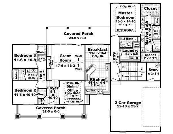 Craftsman Floor Plan - Main Floor Plan Plan #21-292