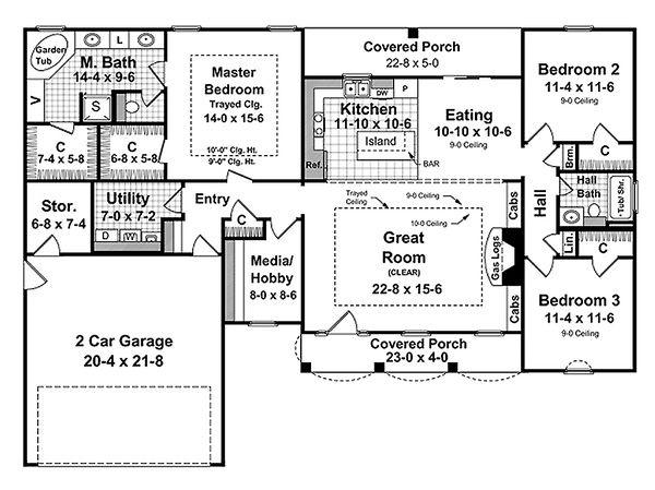 Southern Floor Plan - Main Floor Plan Plan #21-208