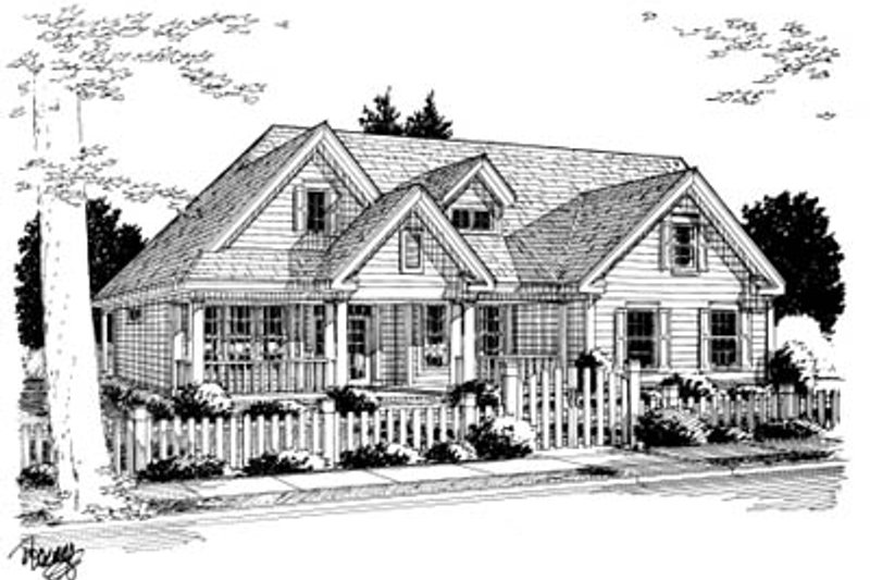 Country Exterior - Front Elevation Plan #20-2007
