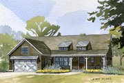 Ranch Style House Plan - 4 Beds 3 Baths 3134 Sq/Ft Plan #901-62 Exterior - Front Elevation