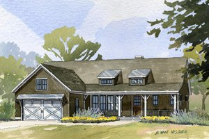 Country style home, ranch design, elevation