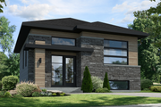 Contemporary Style House Plan - 2 Beds 1 Baths 865 Sq/Ft Plan #25-4325 Exterior - Front Elevation