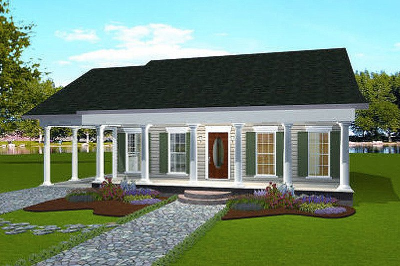 Country Style House Plan - 2 Beds 2 Baths 1301 Sq/Ft Plan #44-160 Exterior - Front Elevation