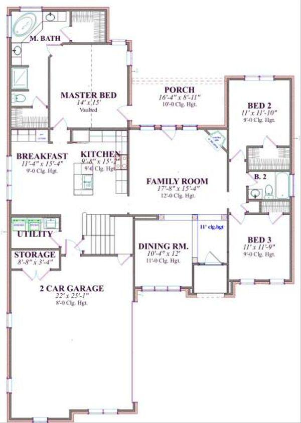 Traditional Floor Plan - Main Floor Plan Plan #63-141