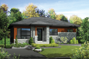Contemporary Style House Plan - 2 Beds 1 Baths 972 Sq/Ft Plan #25-4312 Exterior - Front Elevation
